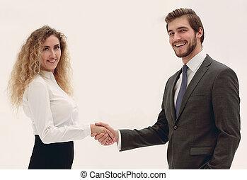 handslag, chef, och, klient, på, suddig fond
