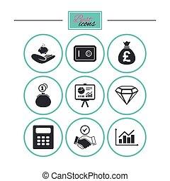 handslag, finans, skylt., kontanter, pengar, icons.