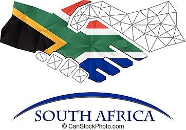 handslag, gjord, flagga, afrika., logo, syd