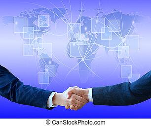 handslag, med, karta, av, världen, in