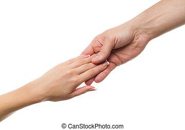 handslag, rörande, räcker