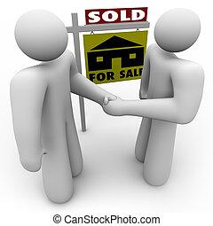 handslag, -, realisation signera, köpare, säljare