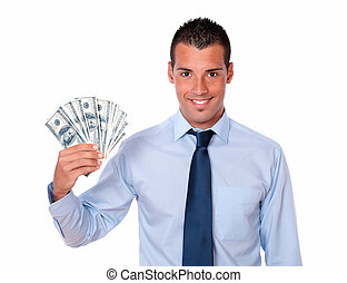 Handsome adult guy holding up cash money - Portrait of a ...