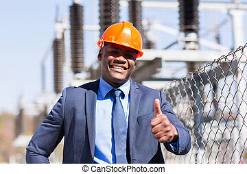 african american electrical manager giving thumb up