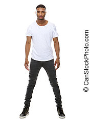 Handsome african american male fashion model - Full length...