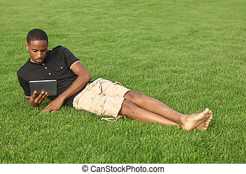 Handsome African American man enjoying the outdoors