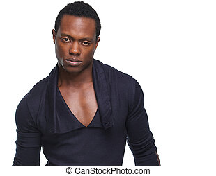 Handsome African American Man Looking at Camera