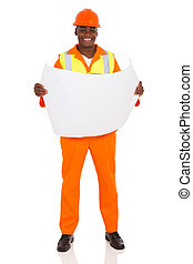 african contractor holding blue print