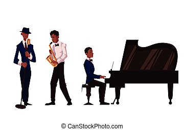 Handsome African male singer, saxophone player and pianist,...