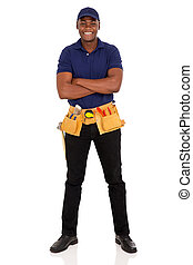 afro american repairman with arms crossed