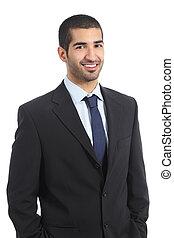 Handsome arab businessman posing confident wearing suit