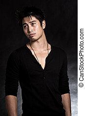 Handsome asian american man