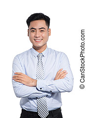 Handsome asian businessman crossed arms on white