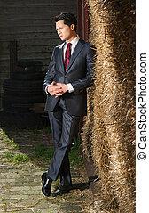 Handsome Asian Businessman on the Farm