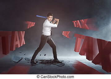 Handsome asian businessman swinging baseball bat to tax text