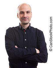 handsome bald man portrait