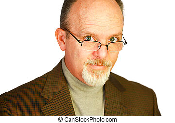 Handsome Bald Man With Goatee Looking Over Glasses
