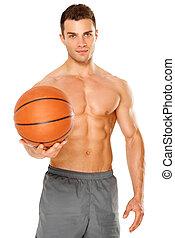 Handsome basketball player holding ball on white