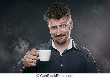 Handsome beard man stand in fog