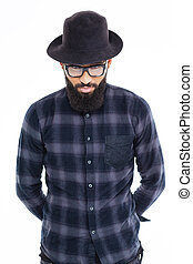 Handsome bearded african man in black hat and glasses -...