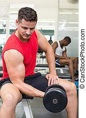 Handsome bodybuilder sitting on bench lifting dumbbell