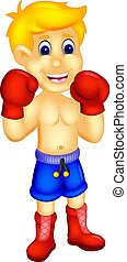 handsome boxer cartoon standing with smile and action -...
