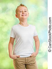 Handsome boy in white tshirt outdoor