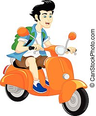 handsome boy riding scooter - vector illustration of...