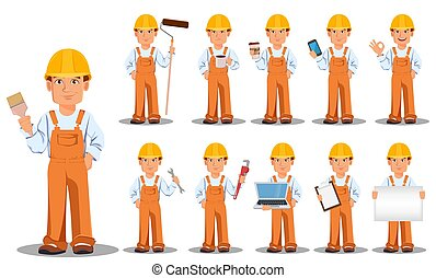 Handsome builder in uniform