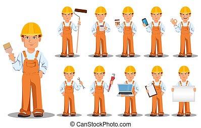 Handsome builder in uniform, cartoon character, set. ...