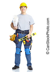 Handsome builder . Isolated over white background