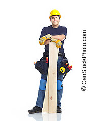 Handsome builder with wood planks. Isolated over white...