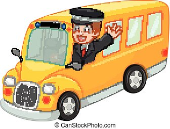 handsome bus driver cartoon waving up bus with smile