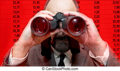 Handsome business man, bald and beard, looking through binoculars over red background with a series of numbers