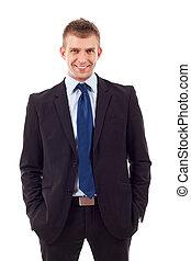 handsome business man - Confident modern businessman keeping...