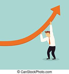handsome business man lift graph arrow higher,successful...