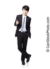handsome business man show thumb up - young handsome...