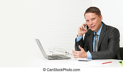 handsome business man using cell phone