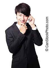 handsome business man using mobile phone
