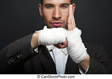 Handsome businessman boxer