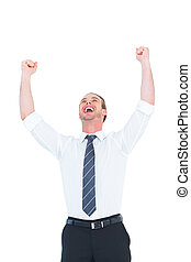 Handsome businessman cheering with arms up on white...