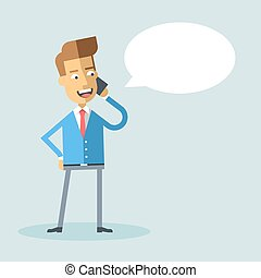 Handsome businessman in formal suit talking on the phone. Successful happy manager talking on cell phone. Vector stock illustration style flat.