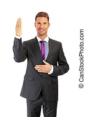 Handsome businessman full length portrait