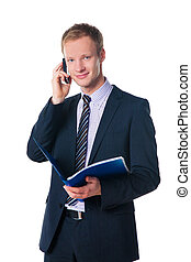 handsome businessman holding blue folder with document and talking on cell phone over white