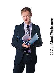 handsome businessman holding blue folder with document