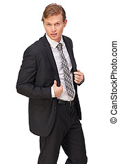 Handsome Businessman in Black Suit