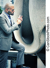 Handsome Businessman in City Outdoor Concept