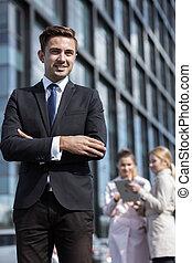 Handsome businessman in elegant suit