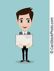 Handsome businessman in formal suit holding an envelope with a letter.