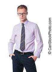 handsome businessman in glasses